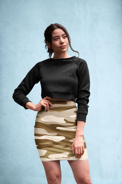 Pencil skirt mockup featuring a woman posing against a textured-background-28664 Pencil Skirt
