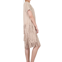 Way Beyoung Brown Stretch V-Neck Short Sleeve Ruffle Tassels Front Dress