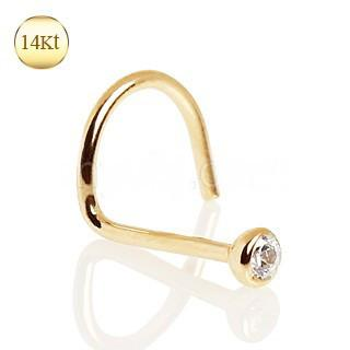 14Kt Yellow Gold Screw Nose Ring with Press Fit CZ