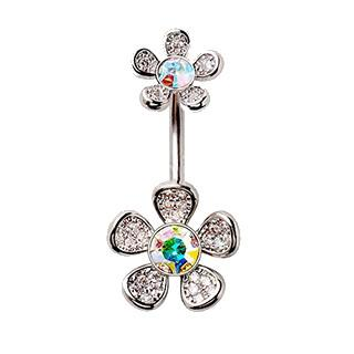 316L Stainless Steel Double Rainbow Flower Navel Ring