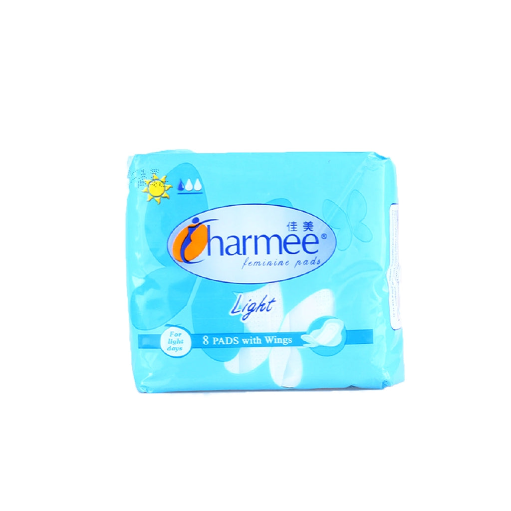 CHARMEE FEMININE PADS WITH WINGS LIGHT 8 PADS