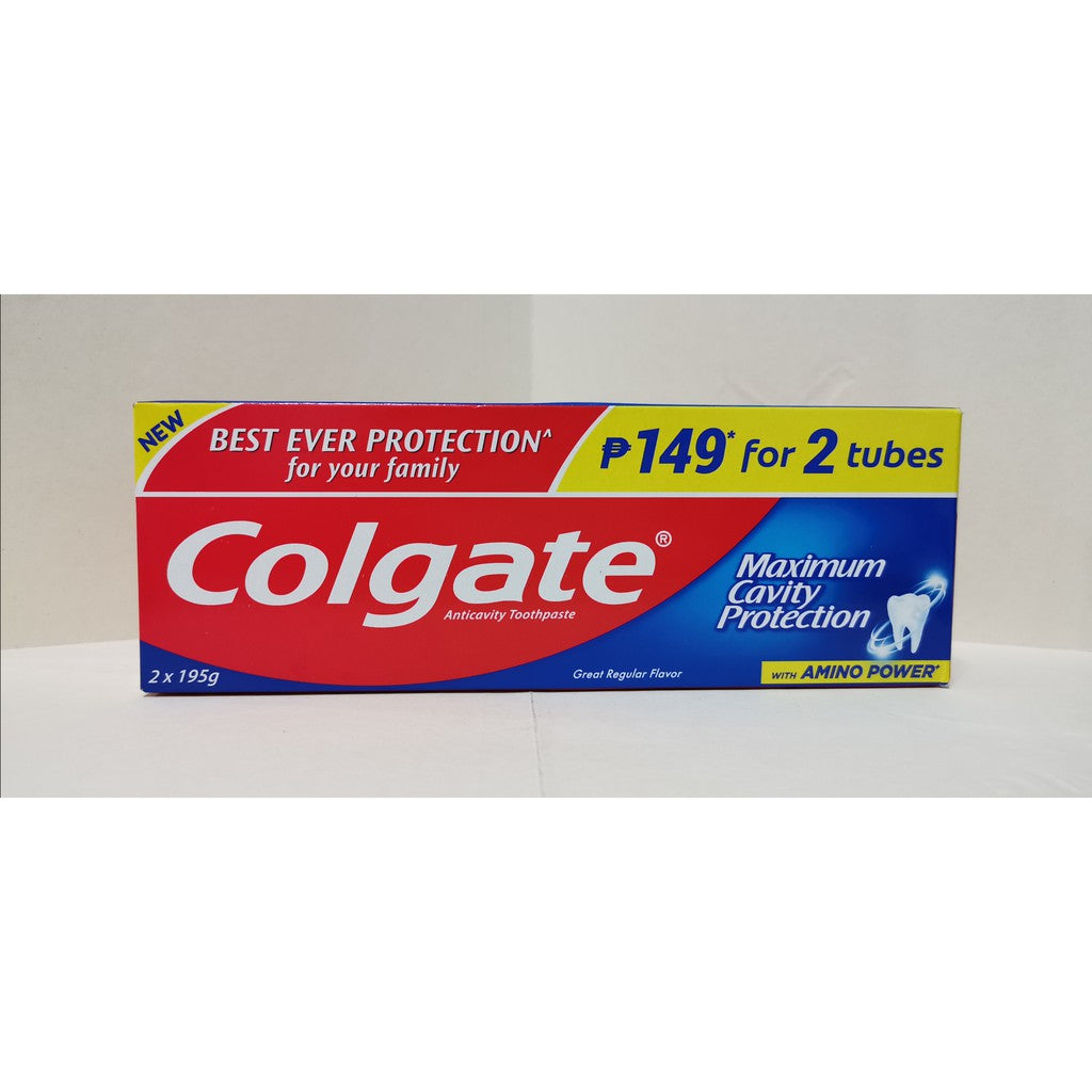 COLGATE TOOTHPASTE GREAT REGULAR FLAVOR 2 X 195G TWIN PACK