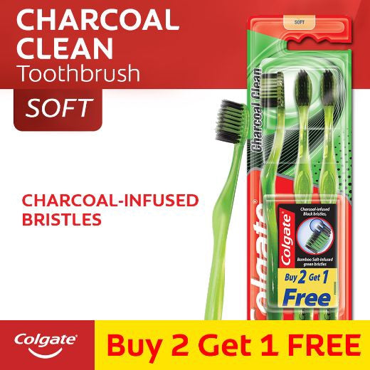COLGATE TOOTHBRUSH CHARCOAL CLEAN 2+1