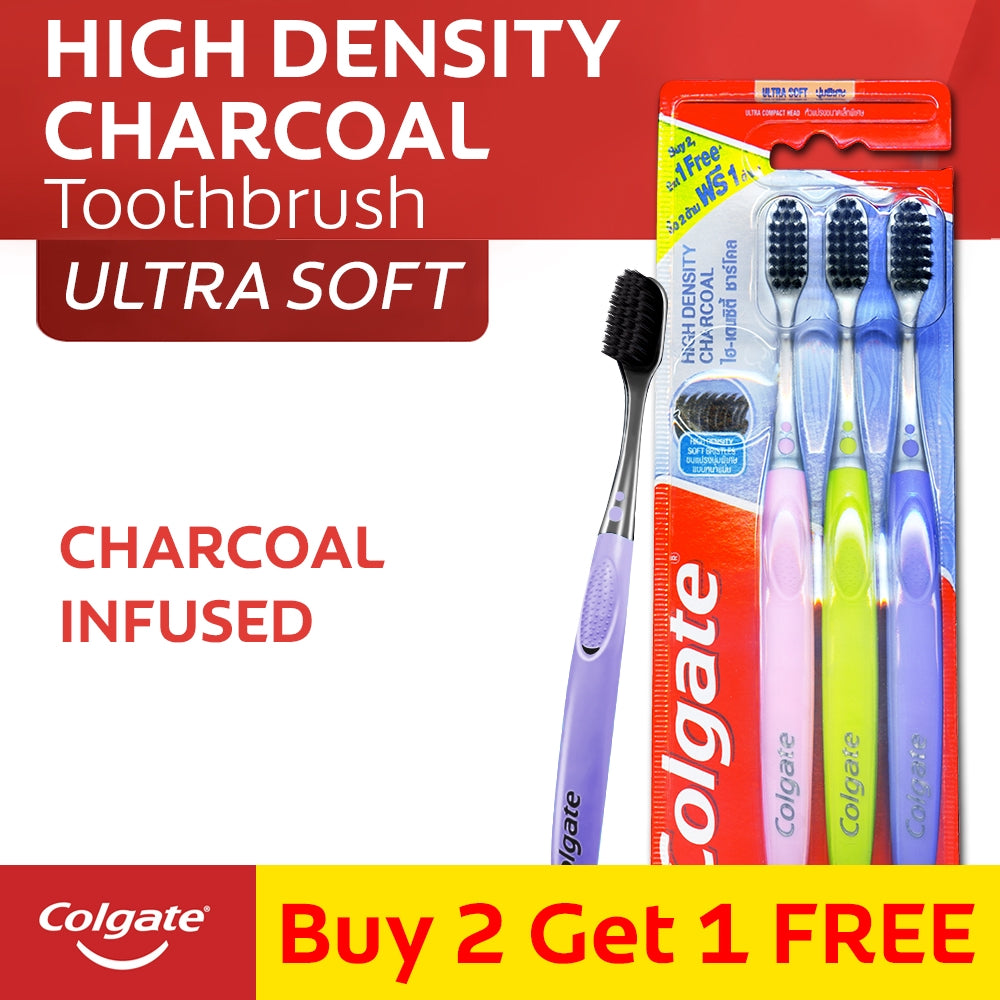 COLGATE TOOTHBRUSH HIGH DENSITY CHARCOAL ULTRA SOFT 2+1