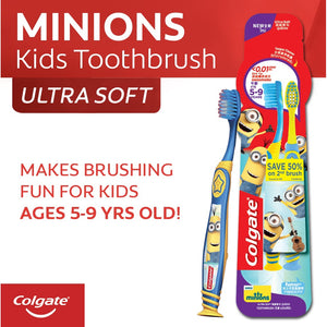 COLGATE TOOTHBRUSH MINIONS 5-9 YEARS OLD TWIN EXTRA SOFT