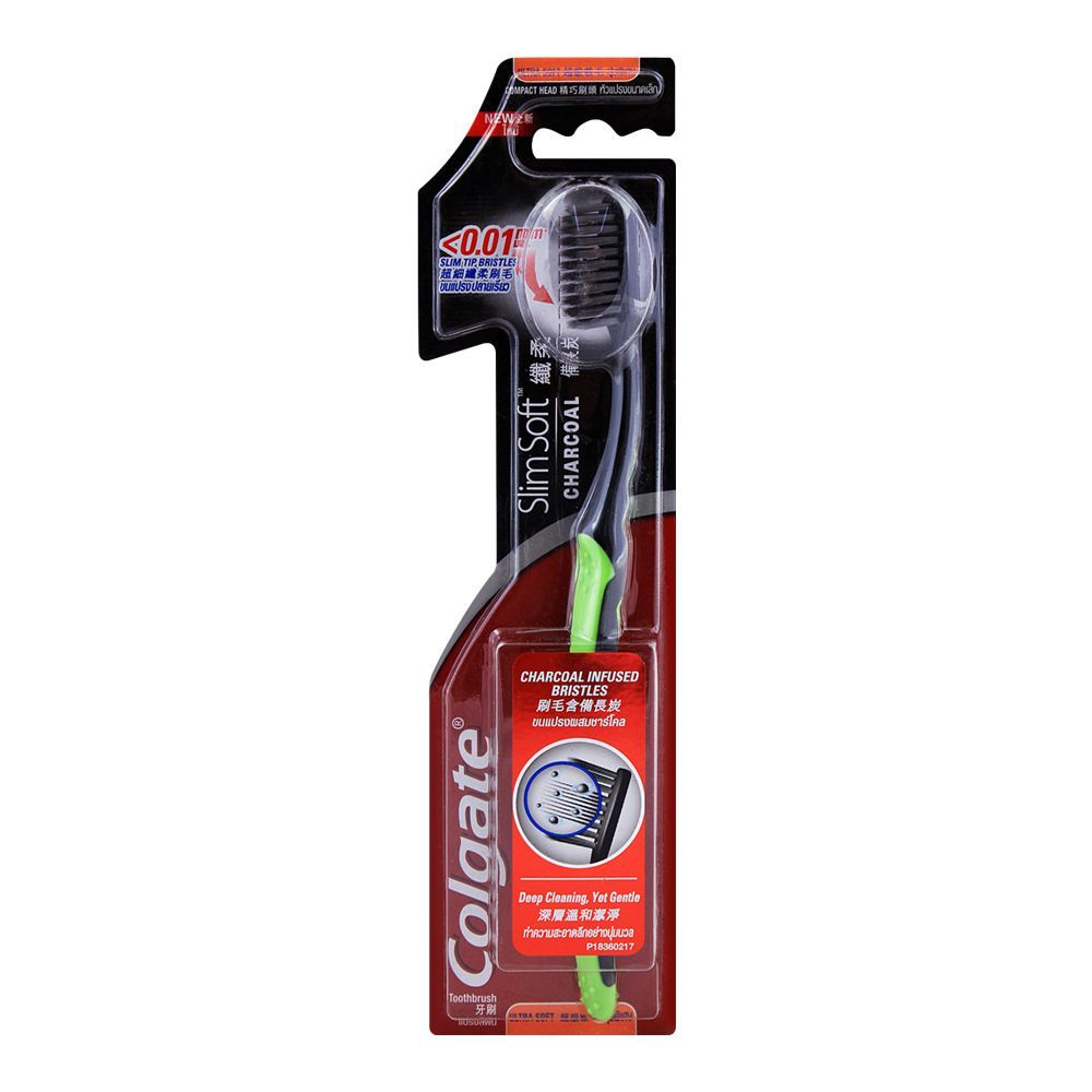 COLGATE TOOTHBRUSH SLIM SOFT CHARCOAL ULTRA SOFT