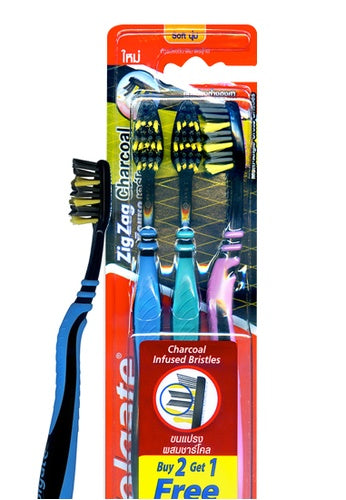 COLGATE TOOTHBRUSH ZIGZAG CHARCOAL SOFT 2+1