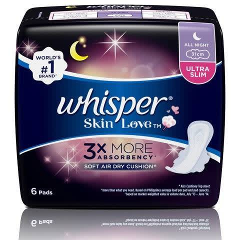 WHISPER SANITARY NAPKIN SKIN LOVE ALL NIGHT (QTY:6)