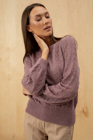 Women's Italian Mohair Sweater with Balloon Sleeves
