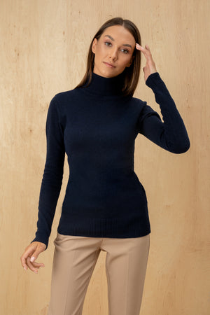 Women's Italian Lambswool Turtleneck Fitted Silhouette Sweater