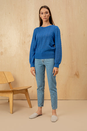 Women's Italian Mohair Sweater with Balloon Sleeves Azure