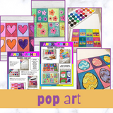 Pop art for kids inspired by famous artsist Andy warhol. Printable pop art cards.