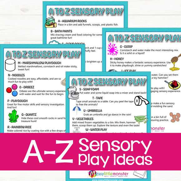 A-Z Sensory Play Ideas