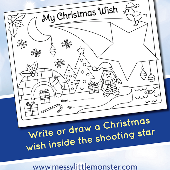 Christmas Wish Coloring Page