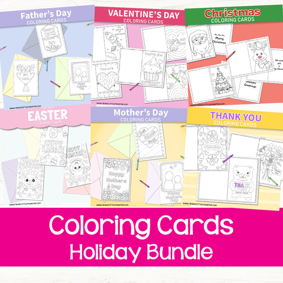 Coloring Cards Holiday Bundle