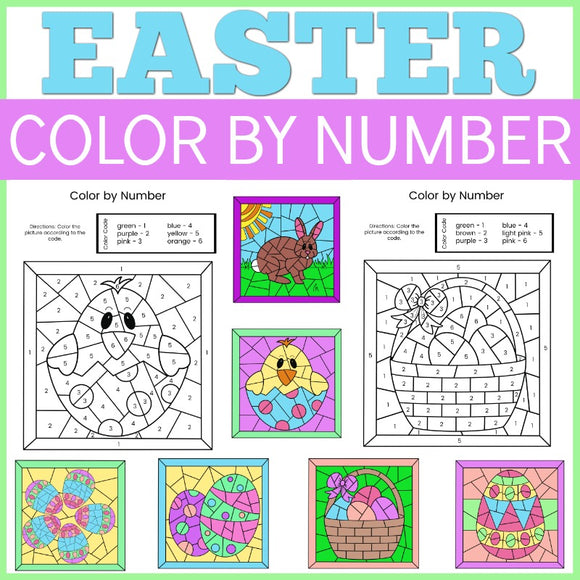 Easter Color by Number Sheets
