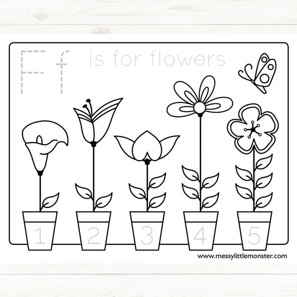 Flower Counting to 5 Coloring Mat
