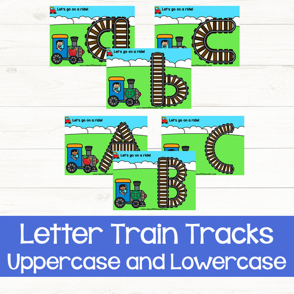 letter train track playdough mats lowercase and uppercase