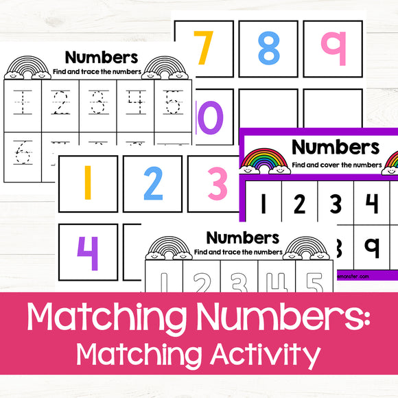 Matching Numbers Activity Game