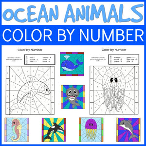 Ocean Animal Color by Number Sheets