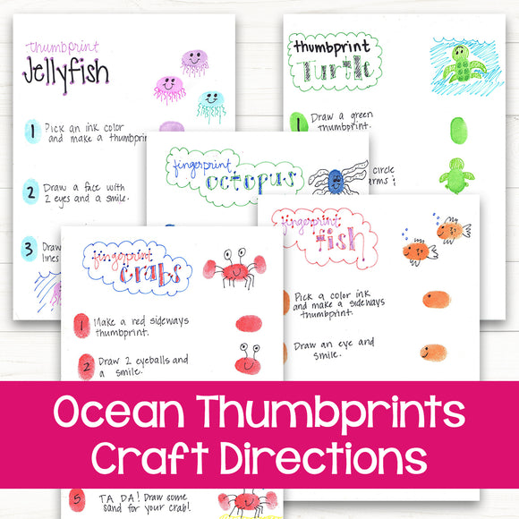 Ocean Thumbprints Craft Directions