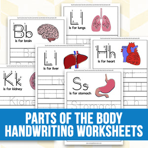 Body Parts Handwriting Worksheets