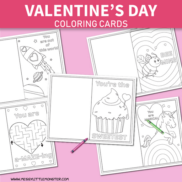 Valentine's Day Coloring Cards