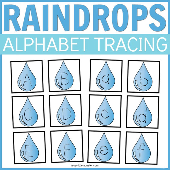 Raindrops Alphabet Tracing Cards