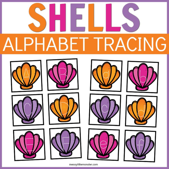 Shell Alphabet Tracing Cards
