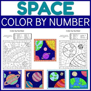 Space Color by Number Sheets