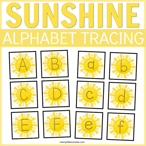 Sunshine Alphabet Tracing Cards