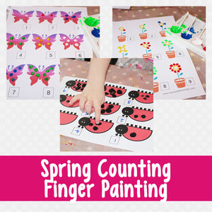 Spring Counting Finger Painting Number Activity