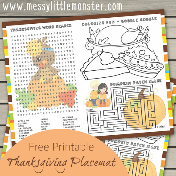 Printable Placemats for Kids - Thanksgiving