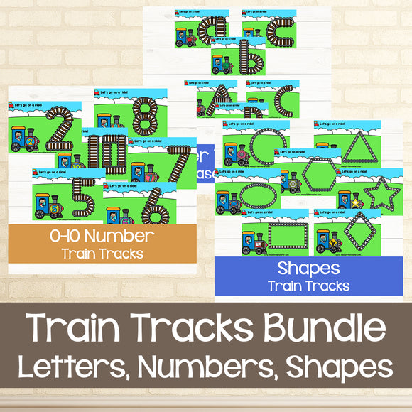 letters, numbers and shape train track playdough mats