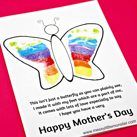 Footprint Butterfly Mother's Day Card