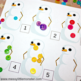 Snowman Painting Numbers Activity