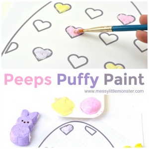 Peeps Puffy Paint Heart Coloring Sheet