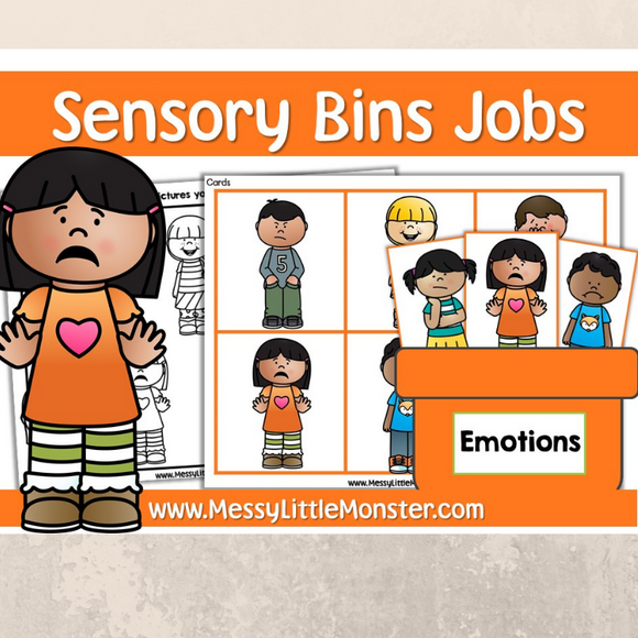 Emotions sensory bin printables