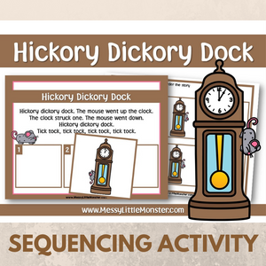 Hickory Dickory Dock - Nursery Rhyme Sequencing Activity