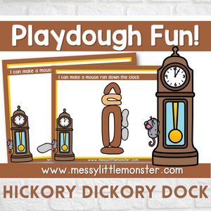 Hickory Dickory Dock Nursery Rhyme Playdough Mats