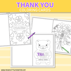 Kids Thank You Coloring Cards