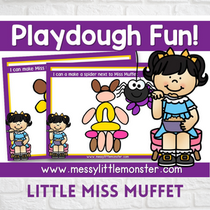 Little miss muffet nursery rhyme playdough mats