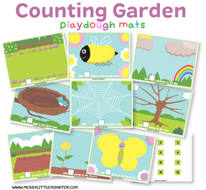 Garden themed counting playdough mats