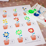Spring Finger Painting Numbers Activity