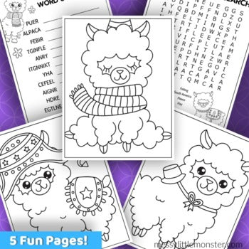 Alpaca Coloring Pages Activity Pack