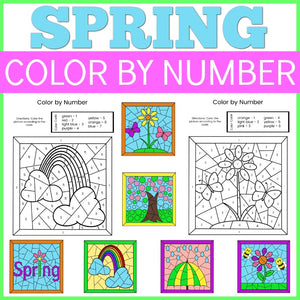 Spring Color by Number Sheets