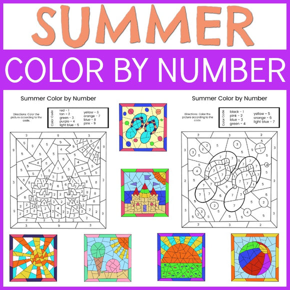 Summer Color by Number Sheets