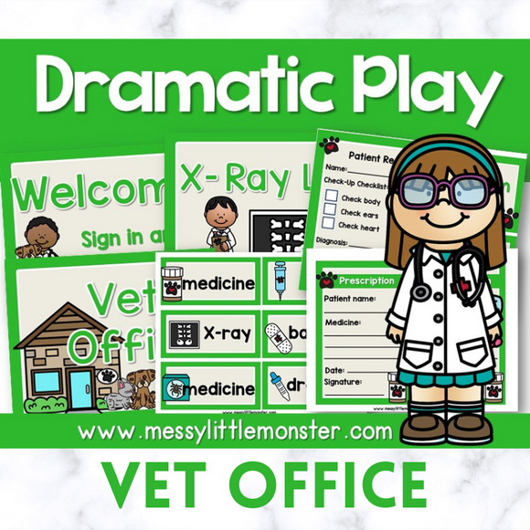 vet office dramatic play printables