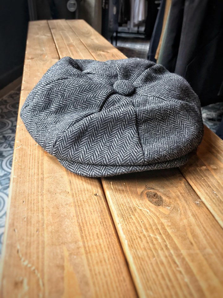 Charcoal Herringbone Newsboy Hats