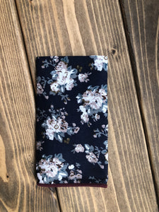 Navy and Mink Floral Cotton Pocket Square